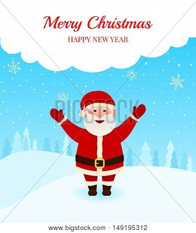 Happy Santa over snow background. Winter landscape with falling snowflake. Greeting card or background poster with place for your message. Merry christmas and Happy new year vector illustration