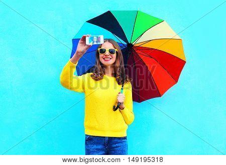 Fashion Pretty Smiling Woman With Colorful Umbrella Taking Autumn Photo Makes Self Portrait On Smart
