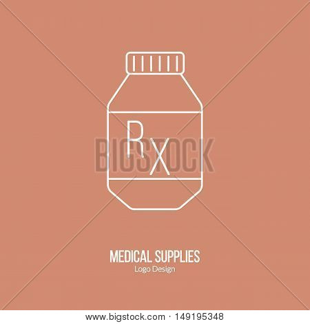 Prescription pill bottle. Single logo in modern thin line style isolated on brown background. Outline medical symbol. Simple mono linear pictogram. Stroke vector logotype template.