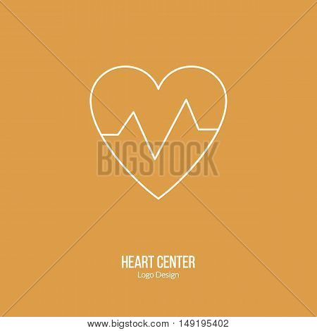 Heart beats graph cardiology sign. Single logo in modern thin line style isolated on color background. Outline medical symbol. Simple mono linear pictogram. Stroke vector logotype template.