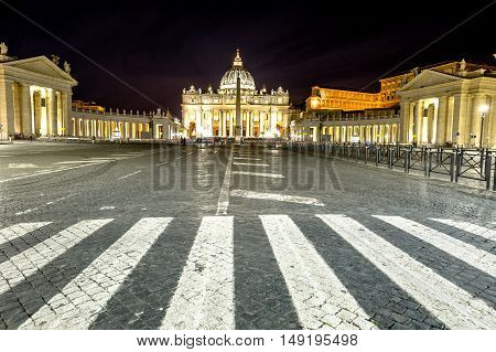 Rome, Italy - June 18, 2016: Panoramic view by night of the Basilica di San Pietro, Vatican City in Rome, Italy.
