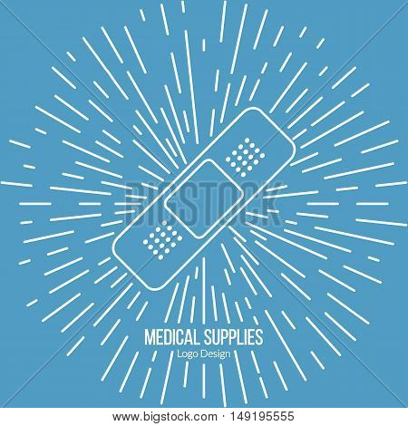 First aid bandage with vintage sun rays. Single logo in modern thin line style isolated on blue background. Outline medical symbol. Simple mono linear pictogram. Stroke vector logotype template.