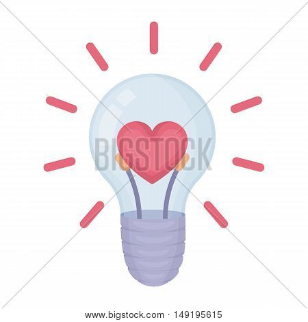 Lightbulb icon in cartoon style isolated on white background. Romantic symbol vector illustration.