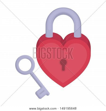 Lock and key icon in cartoon style isolated on white background. Romantic symbol vector illustration.