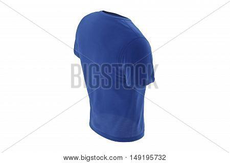 T-shirt mens blue wear casual male design. 3D graphic