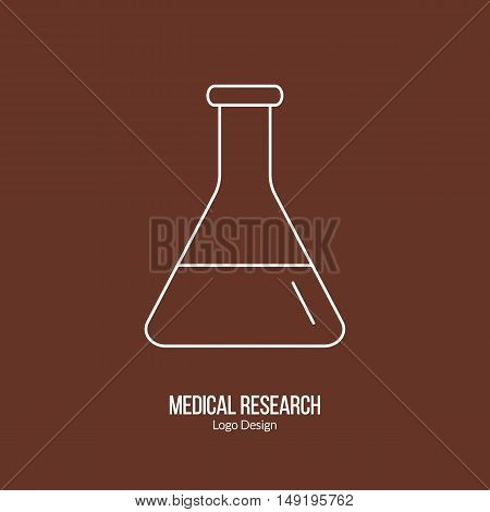 Chemistry flask laboratory glassware. Single logo in modern thin line style isolated on brown background. Outline medical symbol. Simple mono linear pictogram. Stroke vector logotype template.