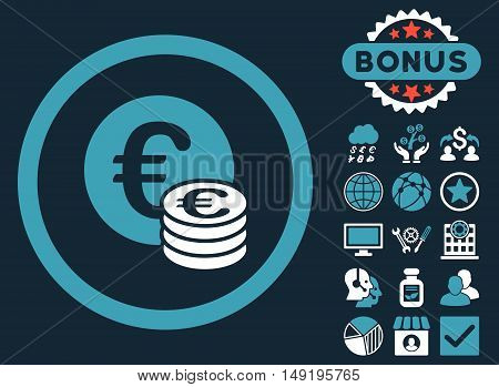Euro Coin Stack icon with bonus design elements. Vector illustration style is flat iconic bicolor symbols blue and white colors dark blue background.