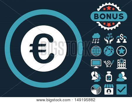 Euro Coin icon with bonus elements. Vector illustration style is flat iconic bicolor symbols blue and white colors dark blue background.