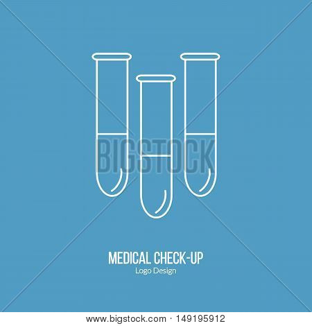 Three test tubes laboratory glassware. Single logo in modern thin line style isolated on blue background. Outline medical symbol. Simple mono linear pictogram. Stroke vector logotype template.