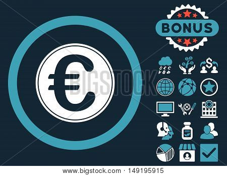 Euro Coin icon with bonus pictures. Vector illustration style is flat iconic bicolor symbols blue and white colors dark blue background.