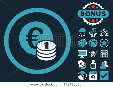 Euro Coins icon with bonus symbols. Vector illustration style is flat iconic bicolor symbols blue and white colors dark blue background.