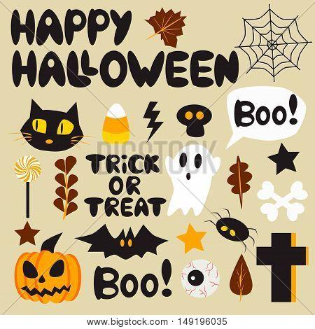 Set of halloween vector illustration. Cartoon style