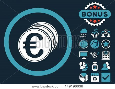 Euro Coins icon with bonus pictogram. Vector illustration style is flat iconic bicolor symbols blue and white colors dark blue background.