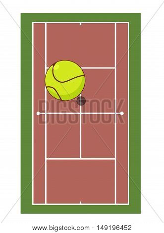 Tennis Field And Ball. Game Of Tennis. Game Ball High Above Ground