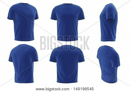 Tshirt blue fabric design short sleeves set collection. 3D graphic