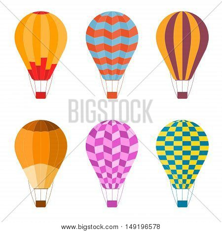 Colorful Air Balloon Set. Flat Design Style. Vector illustration
