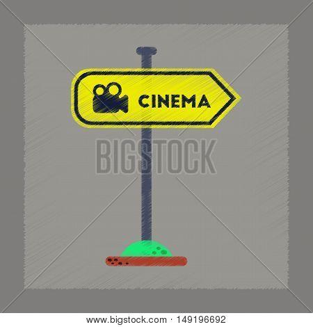 flat shading style icon of cinema sign