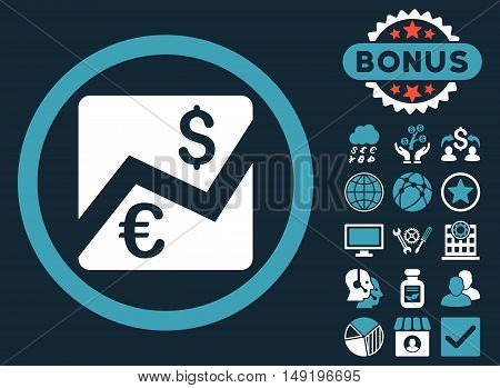 Euro Dollar Chart icon with bonus symbols. Vector illustration style is flat iconic bicolor symbols blue and white colors dark blue background.