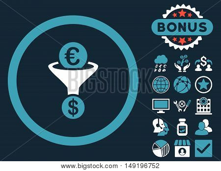 Euro Dollar Conversion Funnel icon with bonus pictogram. Vector illustration style is flat iconic bicolor symbols blue and white colors dark blue background.