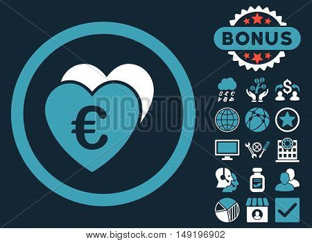 Euro Favorites icon with bonus elements. Vector illustration style is flat iconic bicolor symbols blue and white colors dark blue background.