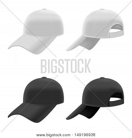 Realistic Black and White Baseball Cap Set on Light Background. Vector illustration