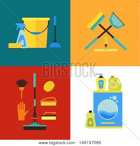 Cleaning Kit Set for Service and Supplies. Flat Design Style. Vector illustration