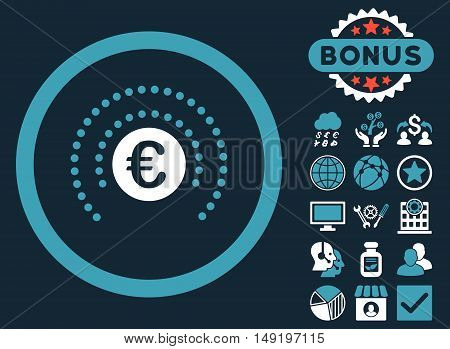 Euro Financial Sphere Shield icon with bonus elements. Vector illustration style is flat iconic bicolor symbols blue and white colors dark blue background.