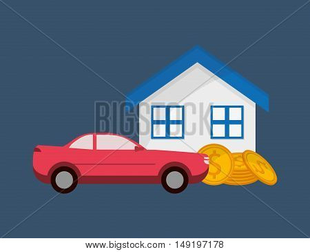 flat design real state and car sale icons image vector illustration