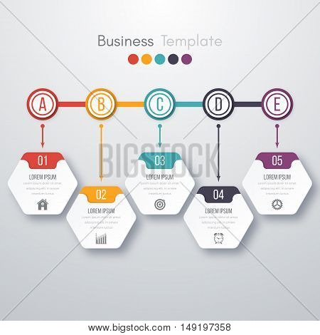 Modern infographics process template with paper sheets, polygons with rounded corners, icons and text for 5 steps. Vector. Can be used for web design, timeline and workflow layout