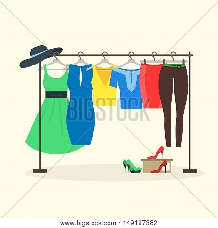 Clothes Racks with Women Wear on Hangers. Flat Design Style. Vector illustration