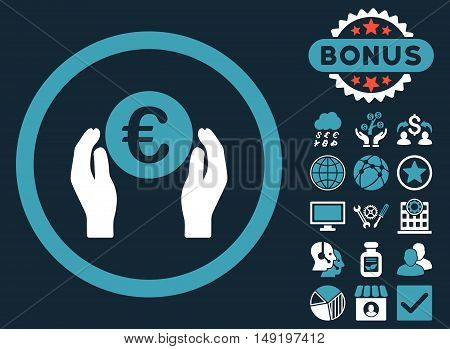Euro Insurance Hands icon with bonus images. Vector illustration style is flat iconic bicolor symbols blue and white colors dark blue background.