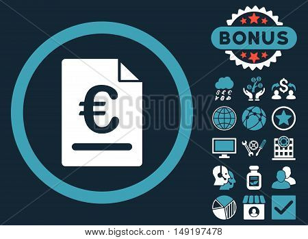 Euro Invoice icon with bonus design elements. Vector illustration style is flat iconic bicolor symbols blue and white colors dark blue background.