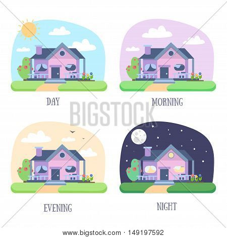 House Building Set. Different Times Of The Day. Flat Design Style. Vector illustration