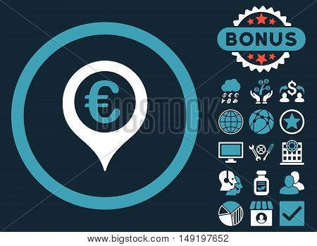 Euro Map Marker icon with bonus images. Vector illustration style is flat iconic bicolor symbols blue and white colors dark blue background.