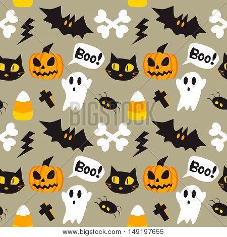 Halloween cartoon seamless background. Vector illustration art style