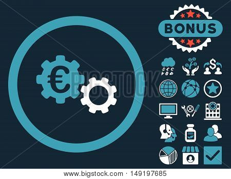 Euro Mechanics icon with bonus images. Vector illustration style is flat iconic bicolor symbols blue and white colors dark blue background.