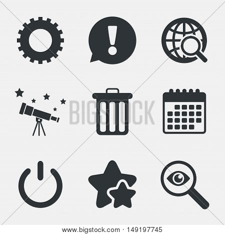 Globe magnifier glass and cogwheel gear icons. Recycle bin delete and power sign symbols. Attention, investigate and stars icons. Telescope and calendar signs. Vector
