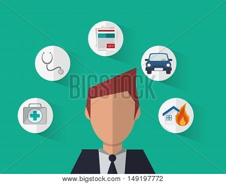 insurance broker or agent and services image vector illustration
