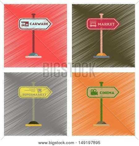 assembly flat shading style icons of sign of market car wash cinema supermarket