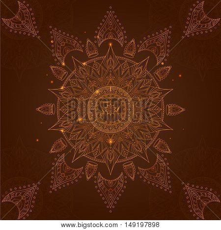 Chakra Manipura on a Dark Brown Background for Your Design. Vector illustration