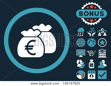 Euro Money Bags icon with bonus design elements. Vector illustration style is flat iconic bicolor symbols blue and white colors dark blue background.
