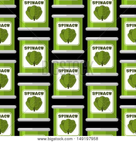 Spinach In Tin Seamless Pattern. Useful Greens Ornament. Green Lettuce Texture. Organic Vegetable Ba