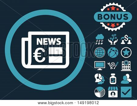 Euro Newspaper icon with bonus elements. Vector illustration style is flat iconic bicolor symbols blue and white colors dark blue background.