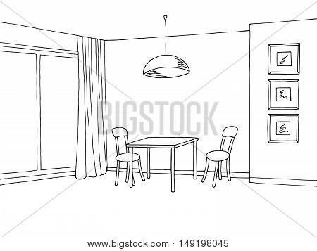 Kitchen room interior graphic art black white sketch illustration vector