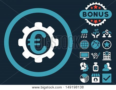 Euro Payment Options icon with bonus pictogram. Vector illustration style is flat iconic bicolor symbols blue and white colors dark blue background.