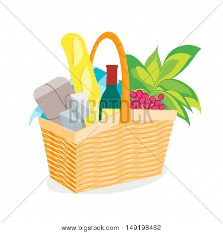 Picnic Basket Full of Food and Wine. Flat Design Style. Vector illustration