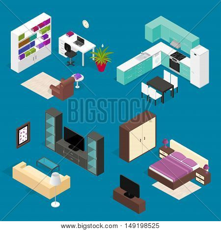 Room Furniture Set For House and Office Isometric View. Vector illustration