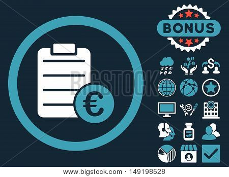 Euro Prices icon with bonus elements. Vector illustration style is flat iconic bicolor symbols blue and white colors dark blue background.