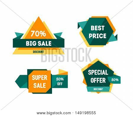 Geometric Sale Banners Set. Concept for Shopping. Vector illustration