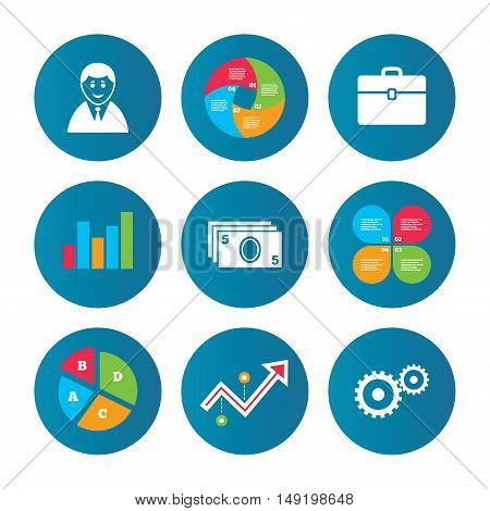 Business pie chart. Growth curve. Presentation buttons. Businessman icons. Human silhouette and cash money signs. Case and gear symbols. Data analysis. Vector